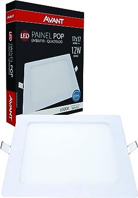 Painel Plafon LED 12W de Embutir Quadrado 17 cm, Bivolt, 6500K Luz Branco Frio ,Avant
