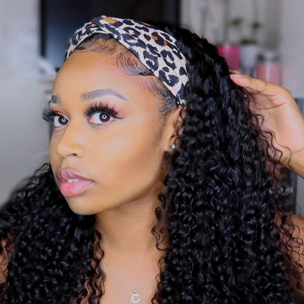 10A Grade Brazilian Hair Animer and price revision Curly Glueless Human Sales results No. 1 Wig Headband