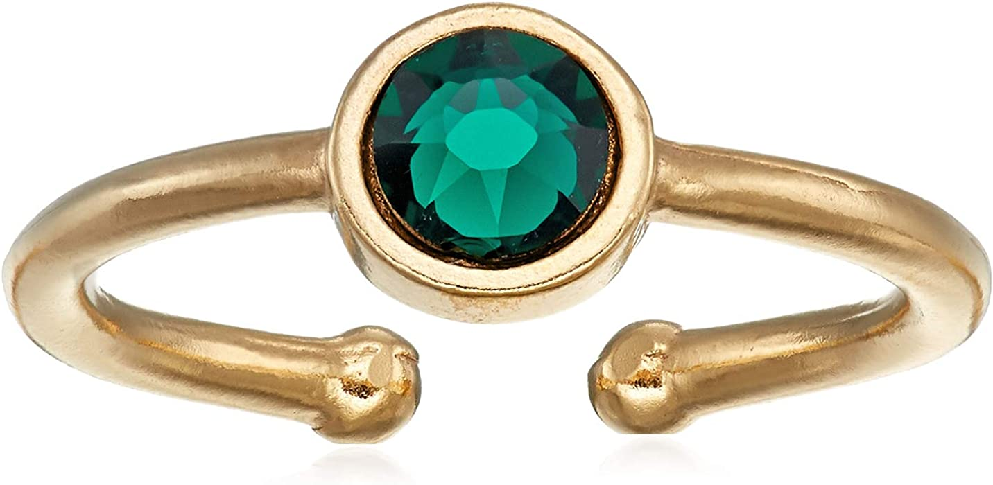 Alex and Ani Women's Swarovski Color Code Adjustable Ring May Emerald, 14kt Gold Plated