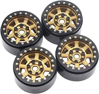 4PCS 1.9'' Aluminum Beadlock Wheel Rims for 1/10 Rc Crawler Axial Scx10 II D90 CC01 D110 (Bronze+Black)