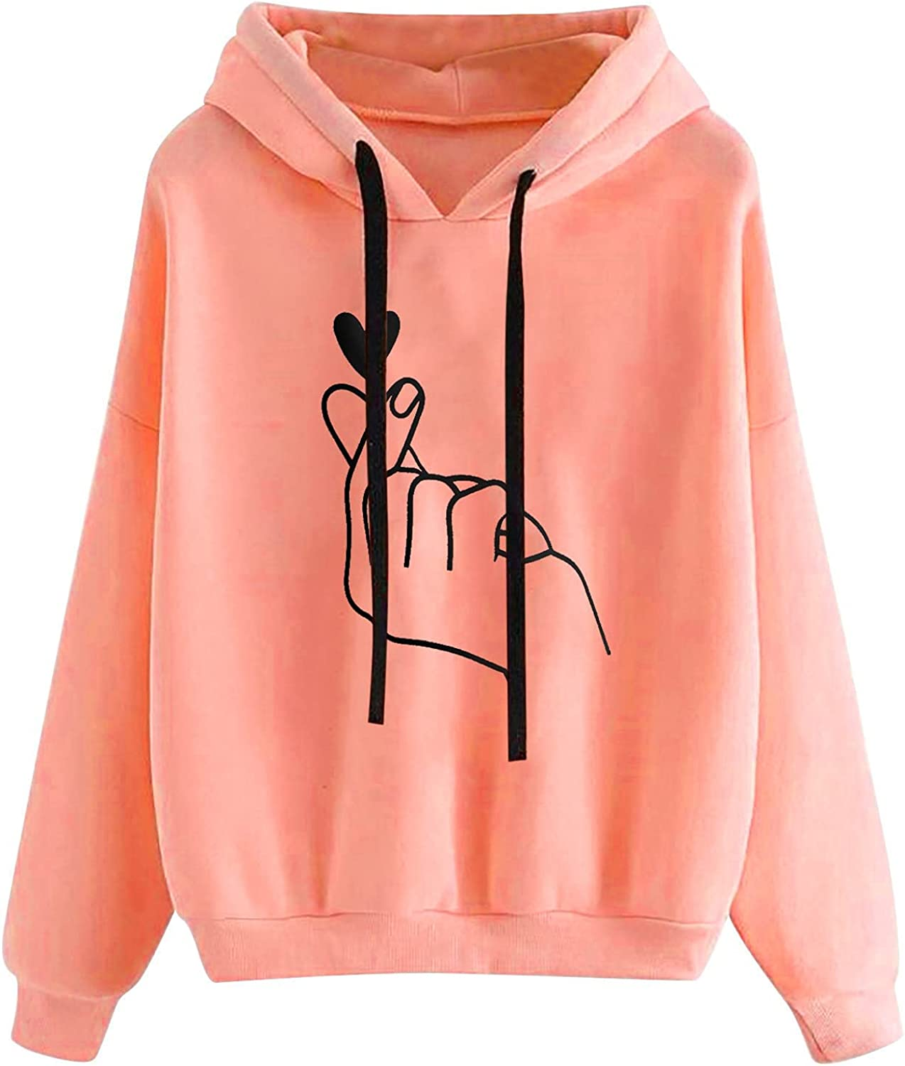Women Cute Solid Hoodies Long Sleeve Round Neck Loose Casual Fal