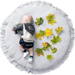 LUERME キッズプレイマット ベビーマット おしゃれ 円形 オムツ替えマット 超ソフト 水洗い可能 取り外し可能 遊びマット 厚手 北欧 赤ちゃん ギフト 約直径105cm