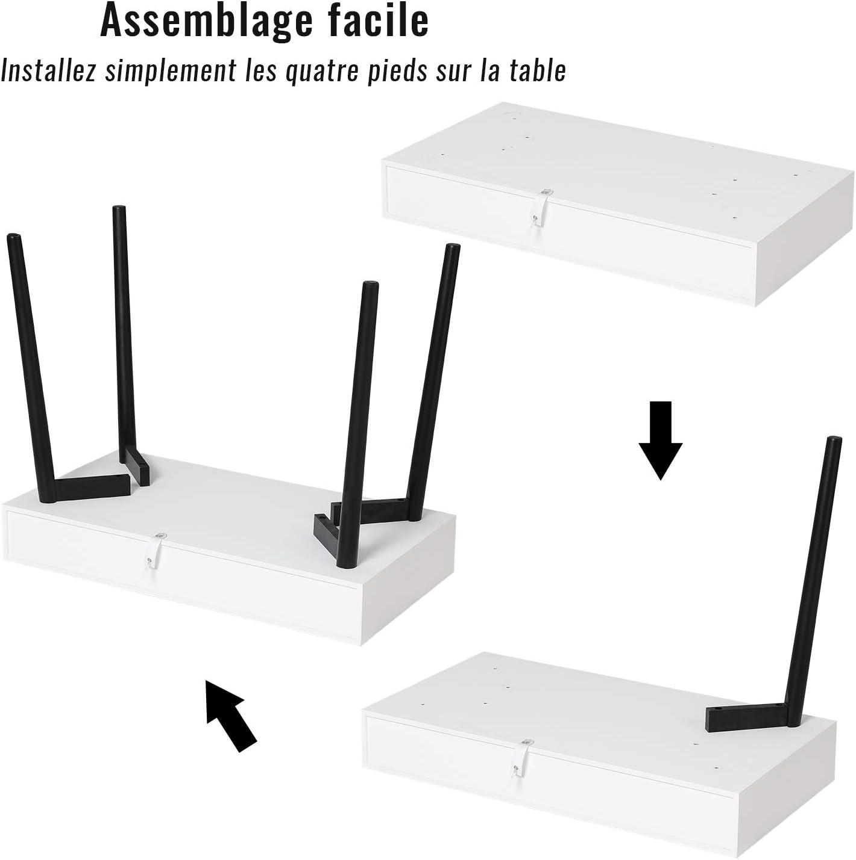 Table de Travail pour Petit Espace Tiptiper Petit Bureau avec 3 Tiroirs Blanc dOrdinateur Table avec Pieds en Ch/êne Bureau d/étude pour /étudiants