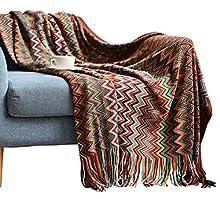 Manta de Punto Suave Bohemia para Siesta Sofá Blanket Tapiz Ganchillo con Flecos Orlón Veta Elegante Talla Grande Primavera Verano Otoño Invierno Azul