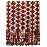 NTBAY Acrylic Knitted Throw Blanket, Lightweight and Soft Cozy Decorative Woven Blanket with Tassels for Travel, Couch, Bed, Sofa, 51 x 67 Inches, Red and White Wave