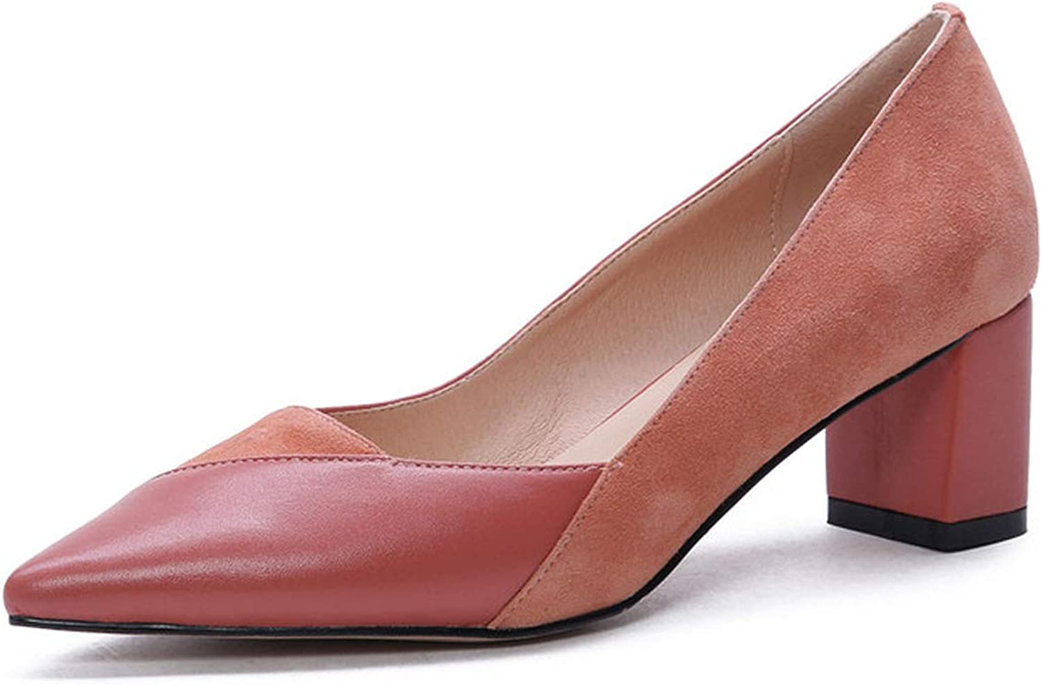 Longbao Cow Leather s for Woman Arrival Square High Heels Concise s Basic Woman