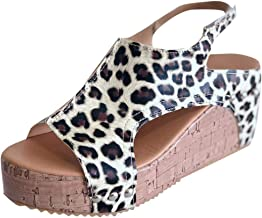 GDJGTA Wedges Sandals Women's Open Toe Breathable Beach Sandals Snake Skin Leopard Band Casual Wedges Shoes