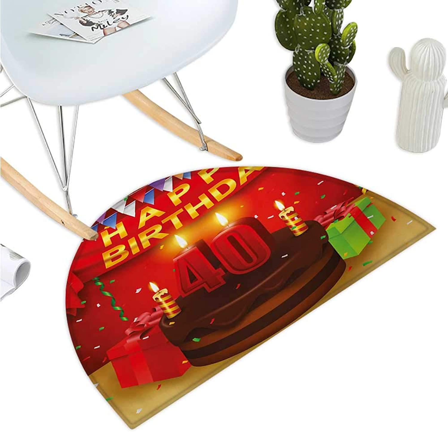 40th Birthday Half Round Door mats Party Set Up with The Flags Chocolate Cake Ribbons and Confetti Rain Print Bathroom Mat H 35.4  xD 53.1  Multicolor