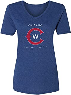 3ee91c14 36 and Oh! Womens Chicago C Baseball T Shirt Vintage Distressed - Soft Style