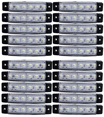 24/7Auto L0051W24 20 X Led Côté 24 V Marqueur Blanc Led Pour Camion Remorque Châssis Caravane