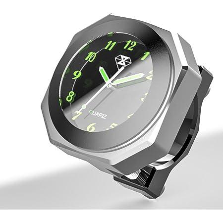 "PerfecTech Waterproof 7/8""- 1 1/8"" Handlebar Luminous Dial Motorcycle Clock for Dirt Bike Motocross Yamaha Kawasaki Honda Suzuki Harley Davidson (Silver)"