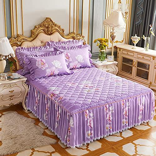 CYYyang Protector de colchón, algodón, poliéster, Falda de Cama Individual de Sarga gruesa-22_150 * 200cm