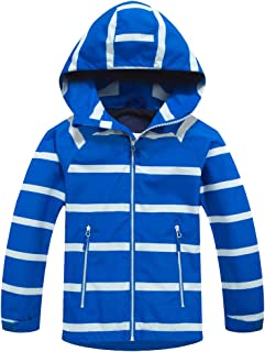 Mallimoda Boys Girls Rain Jackets Windbreaker Raincoats Hooded Fleece Coat