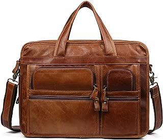 LZRDZSWYXGS Casual Office Business Bag, Laptop Bag Shoulder Bag, Leather Men's Shoulder Messenger Bag, 15.6-inch Retro Men's Business Laptop Bag Perfect for Wedding, Party, Prom (Color : Brown)
