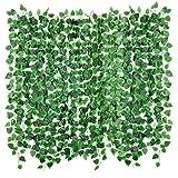 Floralsecret 90Ft 12 Strands Artificial Vines Fake Ivy Leaves Hanging Garland Wedding Wall Decor(Scindapsus Leaves)