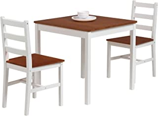 mecor 3 PC Wood Dining Set, Wood Kitchen Table Set with 2...
