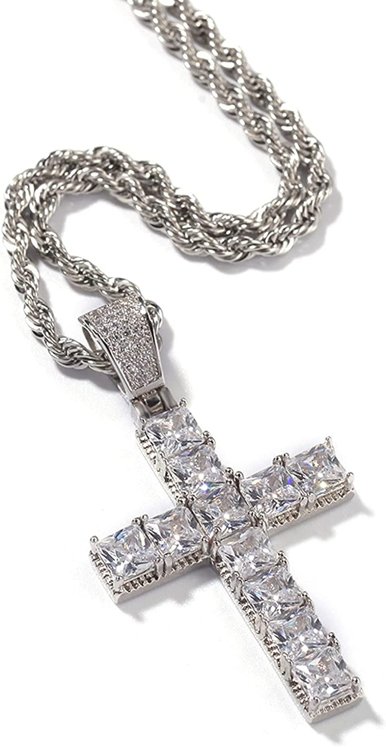 YL Cross Necklace for Men Women 361L Stainless Steel Titanium Steel 5A Cubic Zirconia Pendant with Twist Chain Crucifix Necklace Men Lord's Prayer Jewelry with 24 Inch 3MM Chain