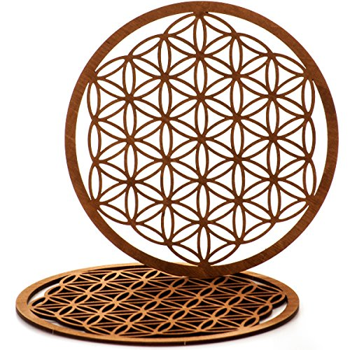 MC-Trend® Hochwertige Blume des Lebens aus Holz in einem 2er Set (Ø 17 cm)