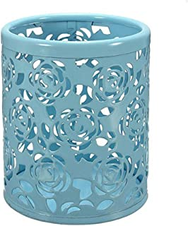 Saim Multi-Color Hollow Rose Flower Pattern Cylinder Pen Pencil Pot Holder Container Organizer (Blue)