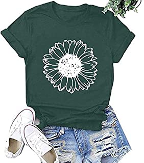 Women's Summer Sunflower Printed T Shirts Casual Loose Tops Cute Graphic Blouse(S-2XL)