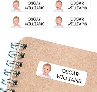 50 Etiquetas Adhesivas personalizadas, con foto o imagen, de 6 x 2cms, para marcar objetos, libros, fiambreras, etc. Color Blanco