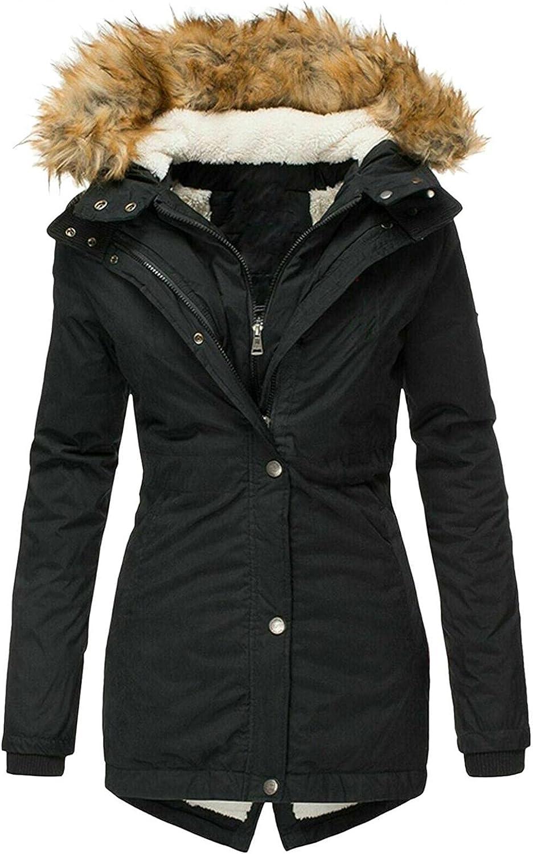 Smileyth Women Winter Cotton Coat Faux Fur Hooded Solid Color Fleece Lined Zipper Pocket Warm Long Jacket Overcoat