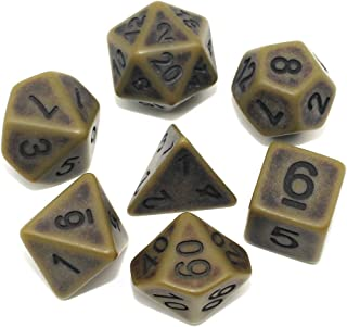 DND Dice Set Ancient RPG Dice for Dungeons and Dragons(D&D) Pathfinder MTG Tabletop Role Playing Game Polyhedral 7-Die Dice Group (Bronze)