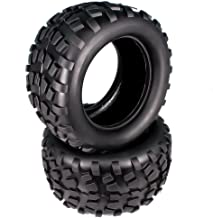 RCAWD Rc Tire Tyre Rubber Natural for Hobby Car 1/10 Monster Truck Big Foot Truggy HSP Himoto HPI Traxxas Redcat Kyosho 2Pcs(Black)