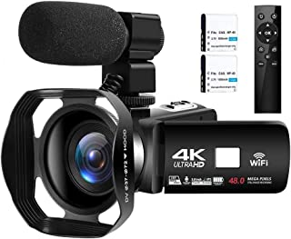 Videocámara 4K Cámara de Video Digital Ultra HD 48MP WiFi Videocamara para Youtube Pantalla táctil de 3.0 Pulgadas Videocá...