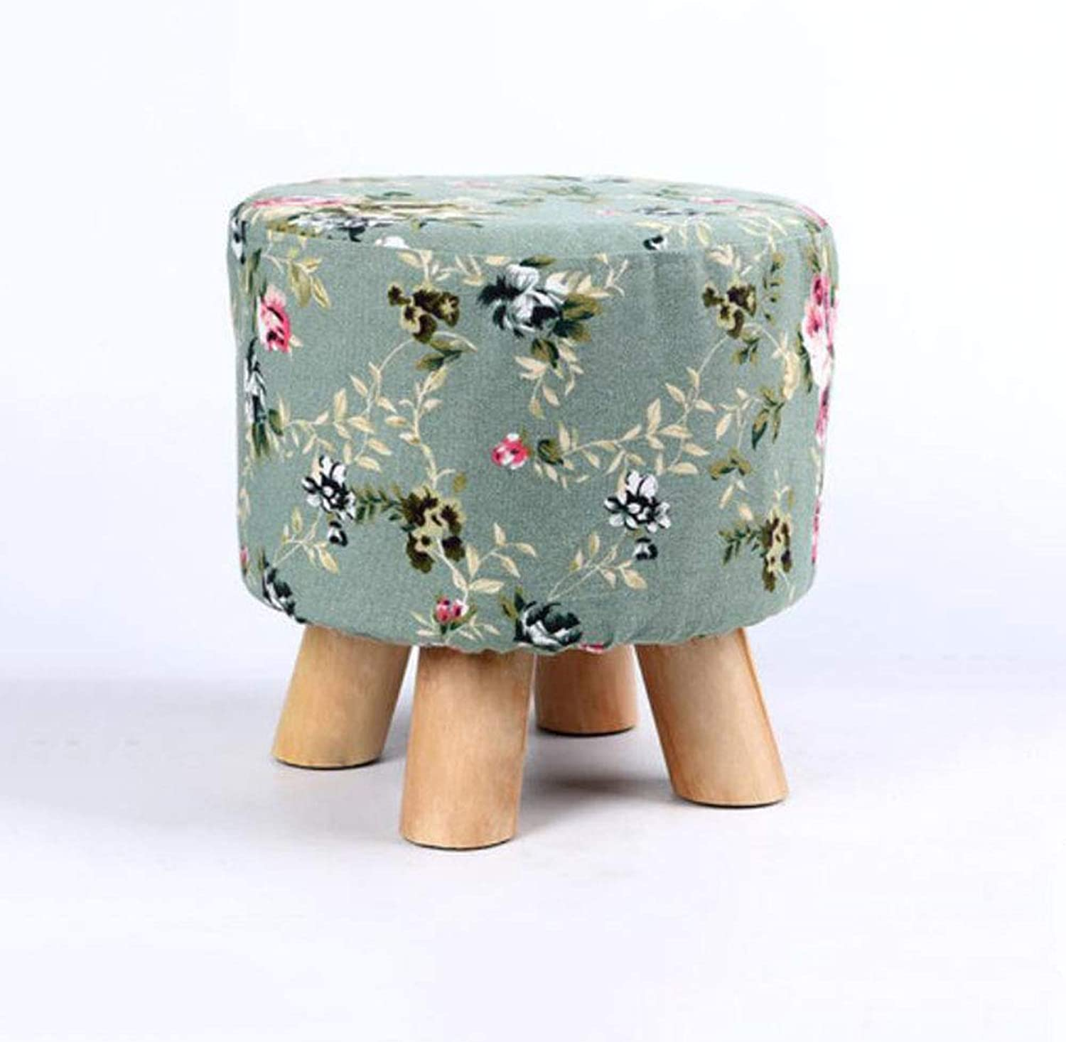 FH Change shoes Stool Solid Wood Fabric Sofa Stool Simple Fashion Wear shoes Bench Coffee Table Living Room Small Stool FH (color   A)