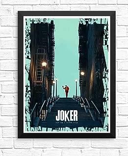 ぶら下げ絵画-映画ジョーカー2019年ホアキンフェニックス階段青ポスター - サイズ:33x43cm(額縁を送る)