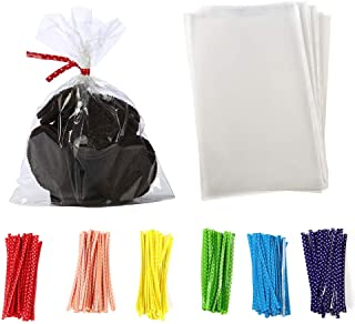 brdonsuper    5 in x 7 in Clear Flat Cello Cellophane Treat Bags Good for Bakery,Popcorn,Cookies,Candies,Dessert 1.2mil.Give Metallic Twist Ties, 100 Pcs, Transparent