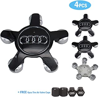 99 Carpro 4PCS Black Wheel Center Hub Caps with Car Tire Valve Stem Caps for Audi Car Styling Decoration Accessories (for Audi-Black)