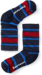 Smartwool Kids' Hike Crew Sock - Merino Wool Lightly Cushioned Striped Sock for Boys and Girls