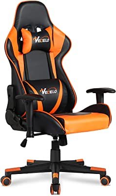 VECELO Video Gaming Chair with Seat Height Adjustable Swivel Recliner Ergonomic Headrest,Lumbar Pillow Esports, Orange