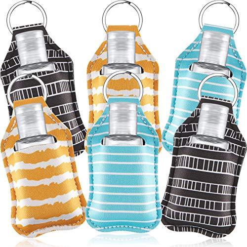 Set de Botellas de Viaje y Llaveros, Incluye Botella Recargable de 6 Piezas Porta Llaveros Bálsamo Labial y 6 Piezas de Botellas de Viaje Vacías de 30 ml para Lociones de Jabón y Líquidos