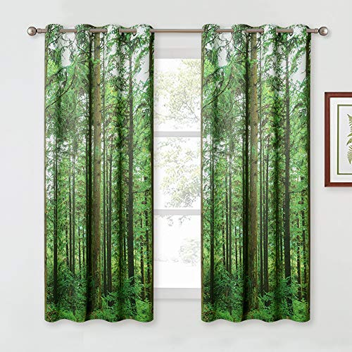 KGORGE Forest Tree Landscape Curtains - Room Darkening Window Curtains with Jungle Wild Nature Flourishing Botanical Print Pattern for Kitchen / Backdrop / Living Room, One Pair, W 52 x L 63 inches