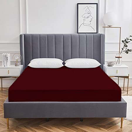 """AVI Water Proof Terry Cotton Mattress Protector/Cover - 72"""" x 78"""", King Size, Maroon"""