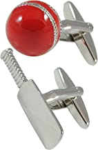 COLLAR AND CUFFS LONDON - Premium Cufflinks with Gift Box - Cricket Bat and Ball - Brass - Field Pitch Wicket Captain Umpire - Silver and Red Color