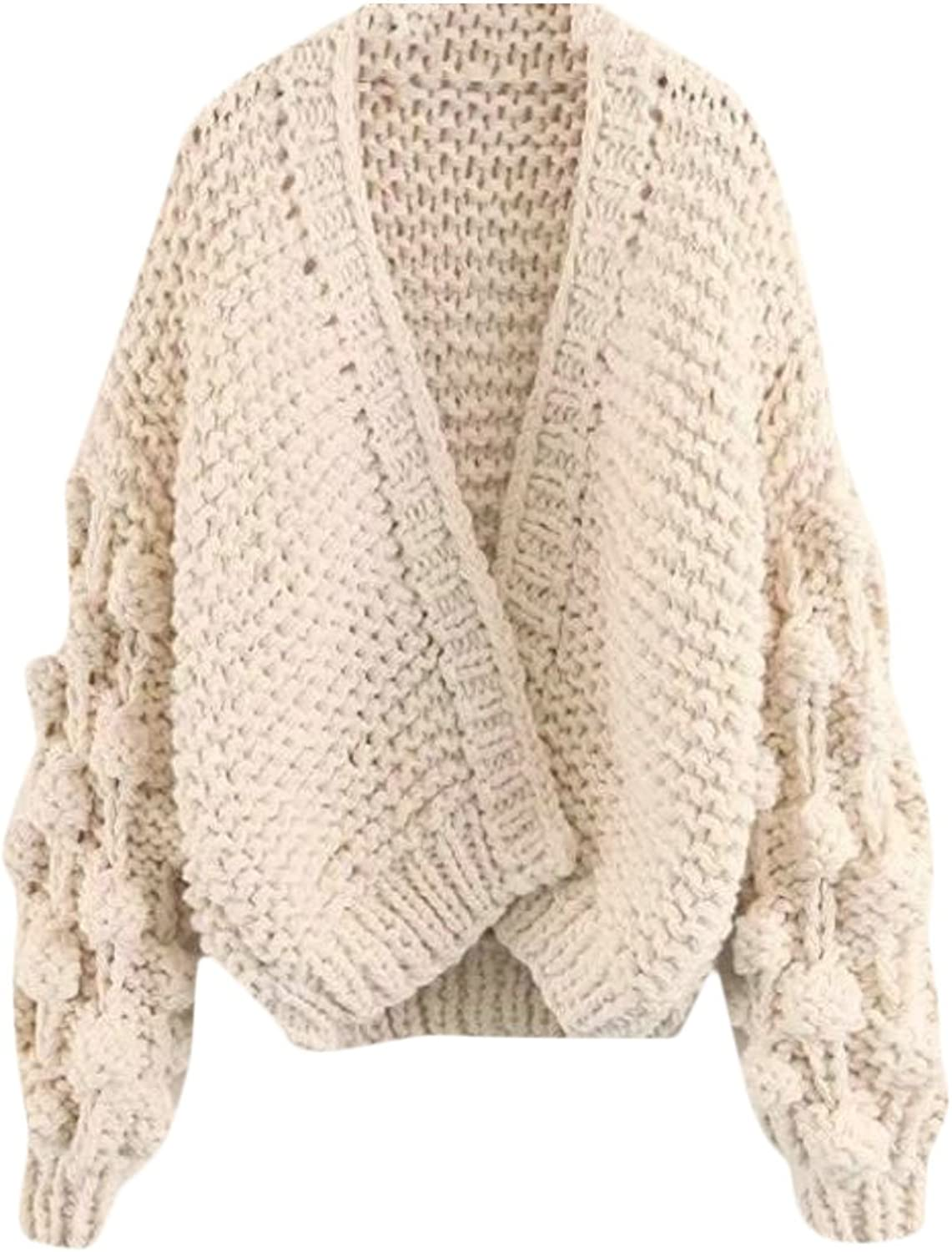 Pandapang Womens Loose Knit Hollow Boyfriend Open Front Cardigan Jacket