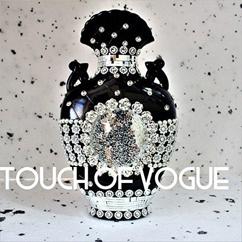 TOV Romany vaso nero argento diamante ceramica fiori decorazione specchio veneziano