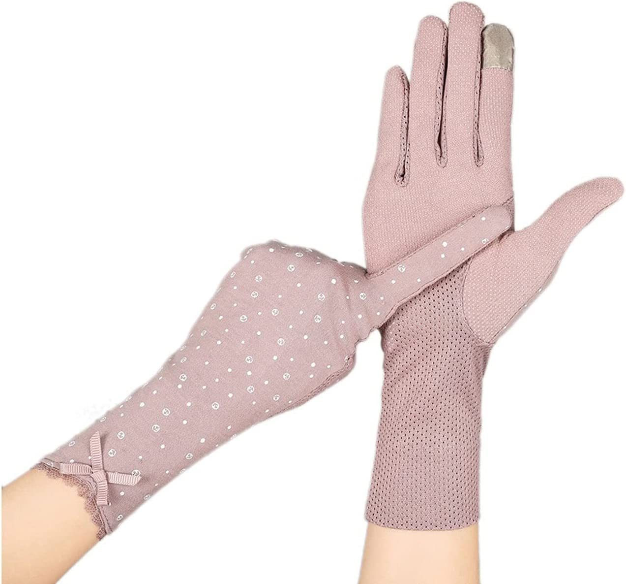 FEIMJLLK Fingerless Gloves for Women 2Pc Female Driver Mid-Long Summer Cotton Cycling Thin Touch Screen Car Driving Gloves Sunscreen Bike Sleeve Gloves for Women (Color : B)