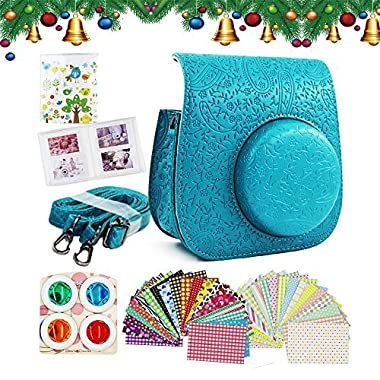 Shaveh PU Leather Case Bag with adjustable Shoulder Strap for Fujifilm Instax Mini 8/ 8+ Instant Camera(Green)