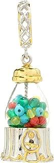 Michael Valitutti Palladium Silver Multi Gemstone Glass Dome Gumball Machine Drop Charm