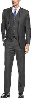 Mens Suit Vested Three Piece Blazer Jacket Dress Vest Plus Pants