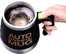 TECHVIDA Auto Self Stirring Mug, Auto Self Mixing Cup Stainless Steel Self Stirring Mug Mixing Cup for Tea Milk Hot Chocolate 400ml