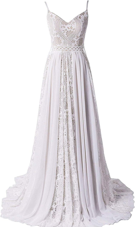 Melisa Women's V-Neck Spaghetti Strap Bohemian Bridal Ball Gowns with Adjustable Drawstring Lace Wedding Dresses