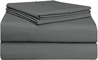 Pizuna Soft 500 Thread Count Queen Sheets Set, 100% Long Staple Cotton Hotel Quality Sheets Queen Dark Grey, Cotton Satin ...