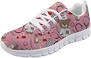 FOR U DESIGNS Women Cute Athletic Running Sports Sneakers Lightweight Breathable Shoes for Girls Boys Doctor Bear Cartoon Pattern