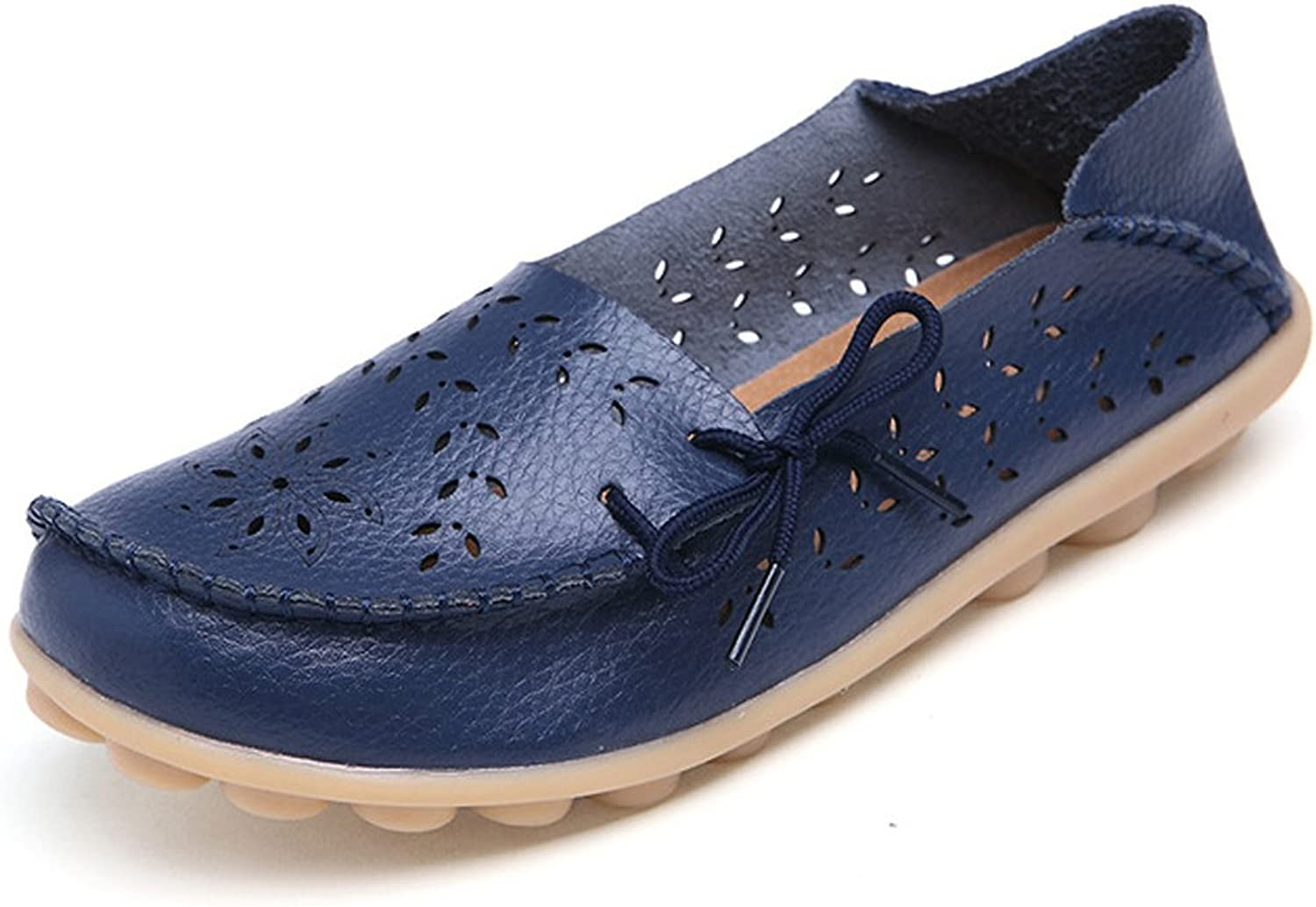 DUOYANGJIASHA Fashion Brand Best Show Women's Leather Loafers Flats Casual Round Toe Moccasins Wild Breathable Driving shoes Dark bluee